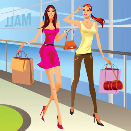 mall shopping: Fashion shopping girls with bags - vector illustration