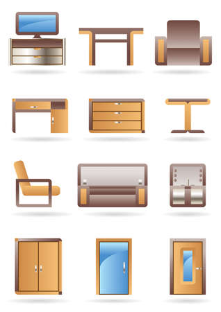 cupboard: Furniture icon set - vector illustration