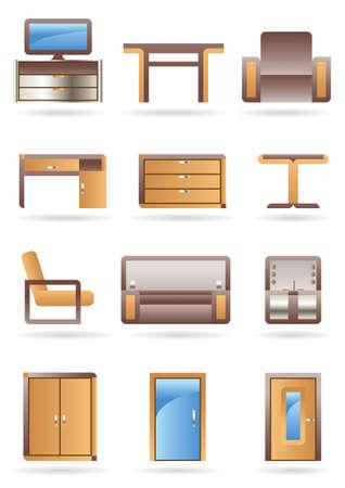Furniture icon set - vector illustration Stock Vector - 10456427