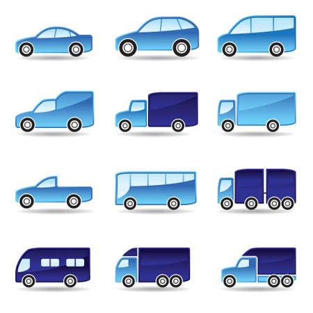 spedition: Road transport icon set illustration Illustration
