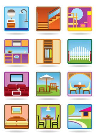 dormir habitaci�n: Hogar y muebles icono de conjunto Gerden