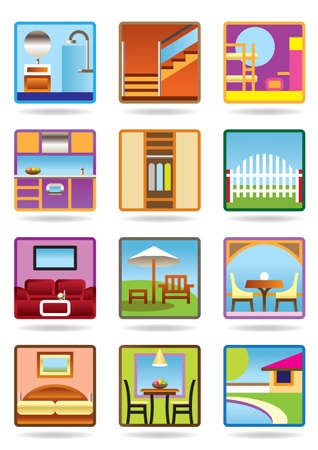Home and gerden furniture icon set Vector