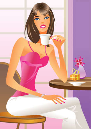 outdoor cafe:  Fashion girl drinking a coffee illustration