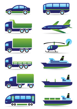 air cargo: Vehicles icons set illustration