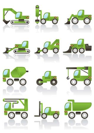 concrete mixer: Building vehicles icons set illustration