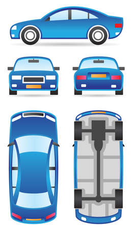 Car in different views illustration Stock Vector - 12480907