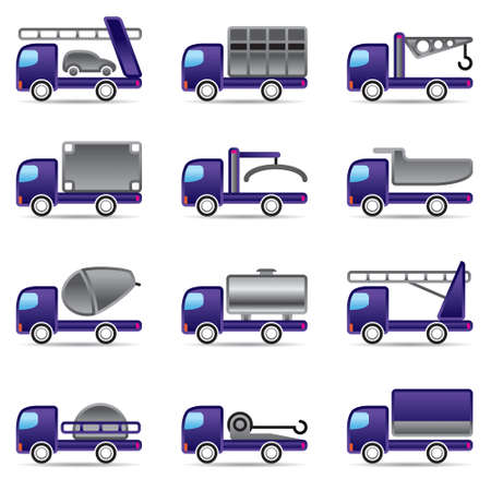 quarry: Different types of trucks illustration