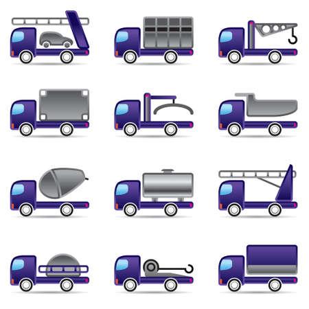 truck crane: Different types of trucks illustration