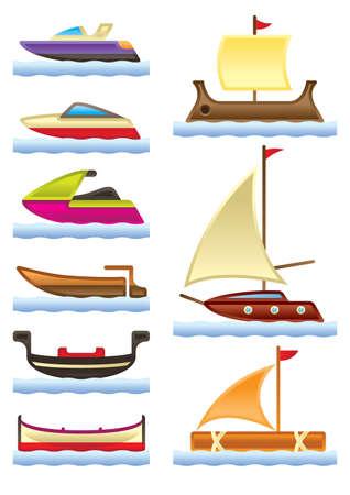 timon barco: Mar y el r�o barcos ilustraci�n Vectores