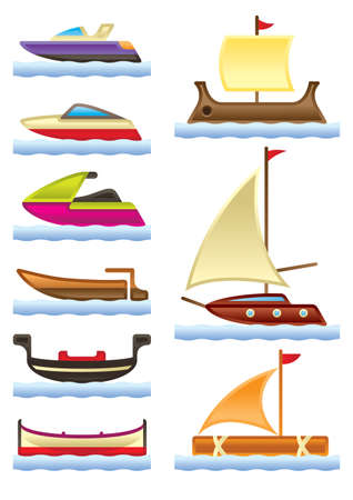 Sea and river boats illustration Vector