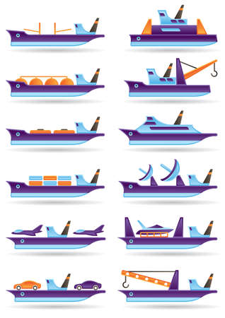 merchant: Different cargo ships icons set illustration