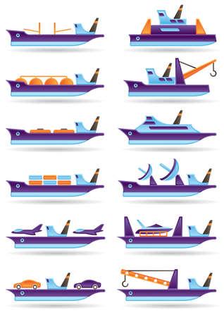 Verschillende vrachtschepen icons set illustratie Vector Illustratie