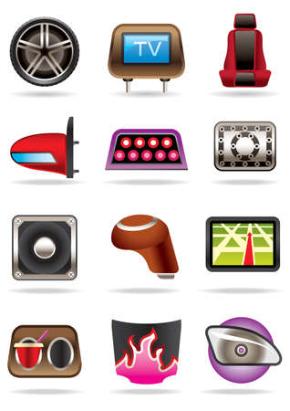 car tuning: Cars tuning accessories illustration