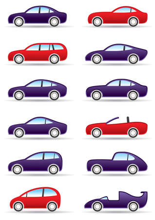 convertible: Different types of modern cars illustration Illustration