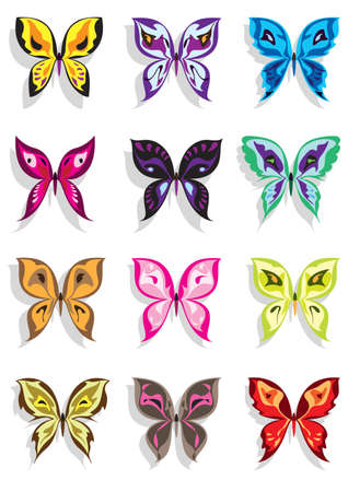 free image: Butterfly with shadow in twelve variations Illustration