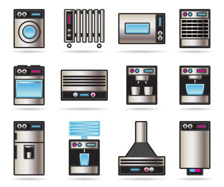 calentador: Electrodom�sticos iconos conjunto ilustraci�n Vectores