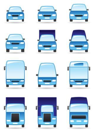Road transportation icons set illustration Illustration