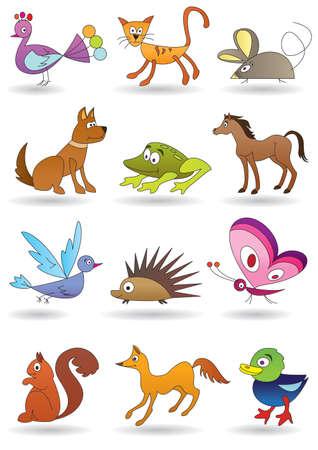 zoo amphibian: Toys with animals for kids icons set Illustration