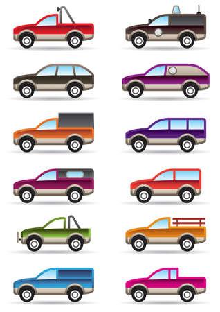 camioneta pick up: Diferente en el terreno y SUV ilustración coches