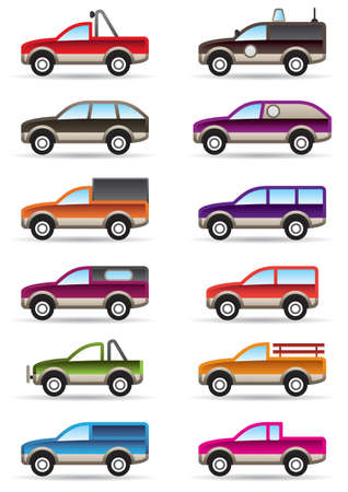 pickup: Different off road and SUV cars  illustration Illustration