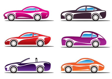 convertible: Luxury sport cars silhouettes illustration