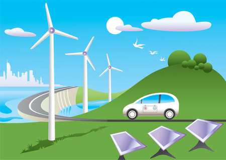 Green car  is traveling among green energy sources Illustration