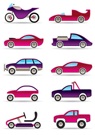 Racing cars, motorcycles and off roads Vector