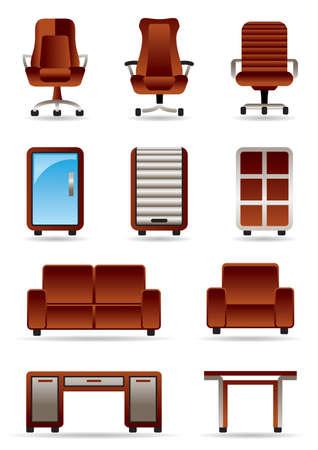 mobilier bureau: Bureau d'affaires ic�ne meubles ensemble Illustration