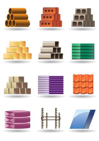 Materiały budowlane i konstrukcje Ilustracje wektorowe