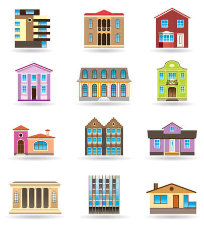 architectural styles: Buildings and houses in different architectural styles Illustration