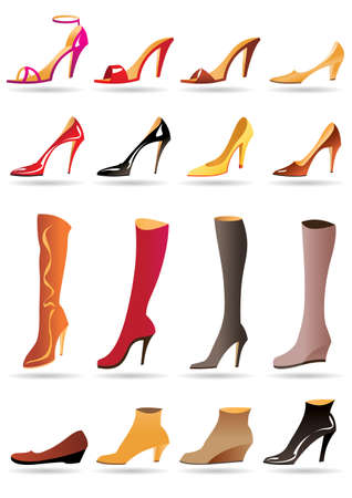 Ladies slippers shoes and boots illustration Illustration