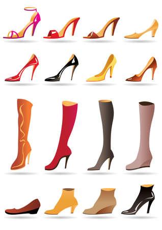 femme dessin: Mesdames pantoufles chaussures et bottes illustration