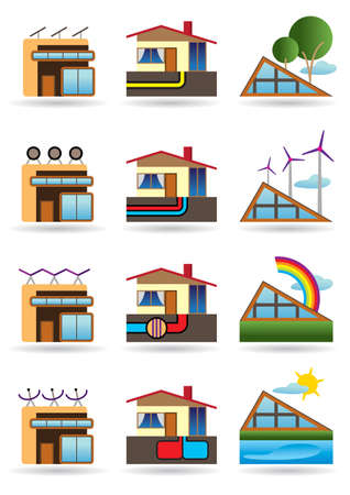 Green building with green energy sources Vector