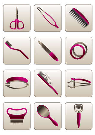scissors and comb: Hair and skin beauty care cosmetic accessories Illustration