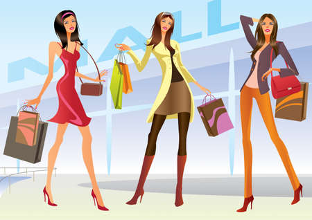 mall signs: Fashion shopping girls illustration