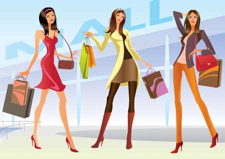 tienda de zapatos: Niñas de compras de ilustración de moda