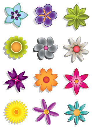 fairy garden: Abstract flower icons illustration
