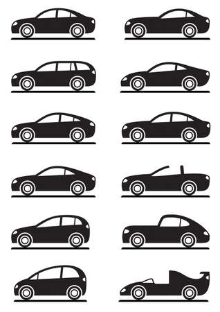 convertible car: Different modern cars illustration