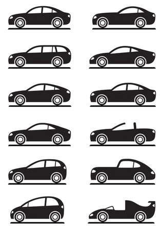 car show: Different modern cars illustration