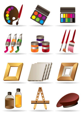 mural:  Painting materials  and tools for artists icons set Illustration