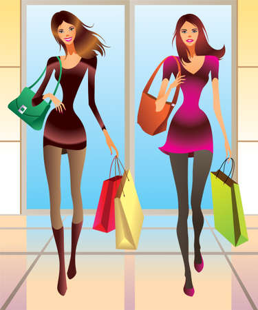 Fashion girls with new purchases illustration Vector