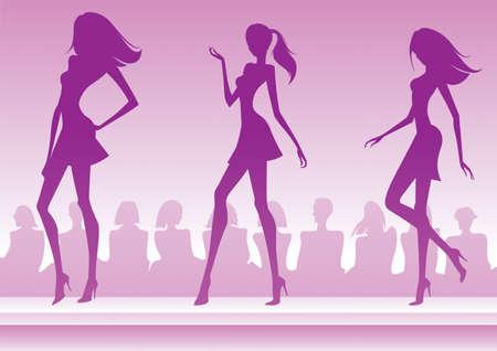 modelo en pasarela: Modelos de moda est�n presentando una nueva colecci�n Vectores