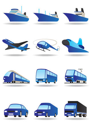 Road, sea and space transport icons set Illustration