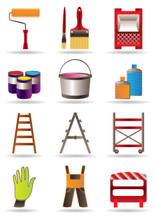 scaffold: Painting and construction tools illustration Illustration