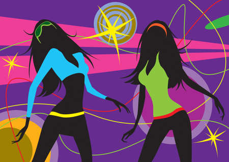 Dancing girls in a club illustration Stock Vector - 12480462