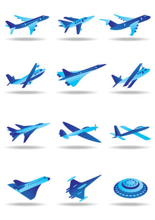 airplane take off:  Different airplanes in flight icons set