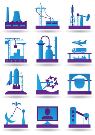 mining icons: Plants for light and heavy industry illustration
