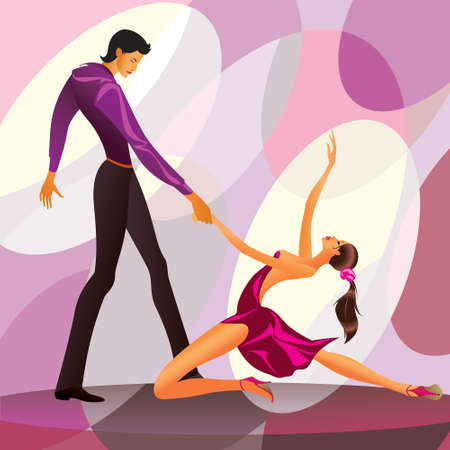 rumba: Couple dancers in romantic scene illustration Illustration