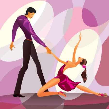 baile latino: Pareja bailarines en la ilustración escena romántica