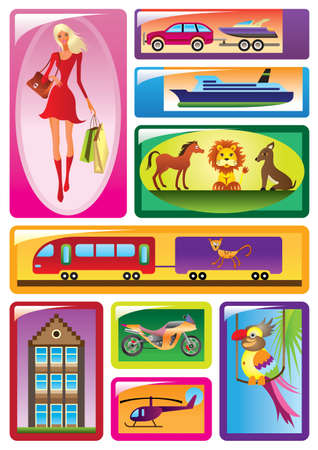 Different children s toys - vector illustration Vector